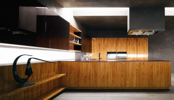 Modern Kitchen In Wooden Finish 8 554x319 Trendy, elegant kitchens for everyone`s taste!