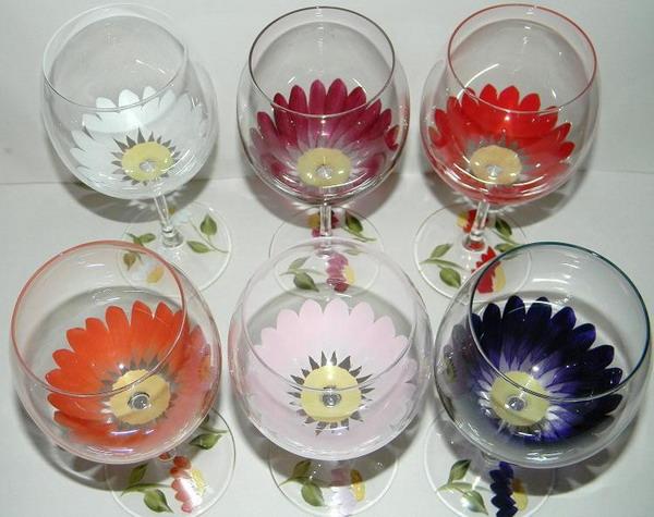Цветы на бокале своими руками