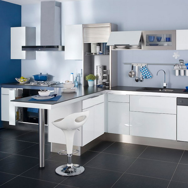 kitchen white plus blue5 Simple and trendy kitchen