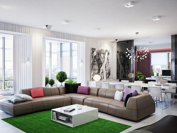 green-brown-living-room-L-shaped-sofa