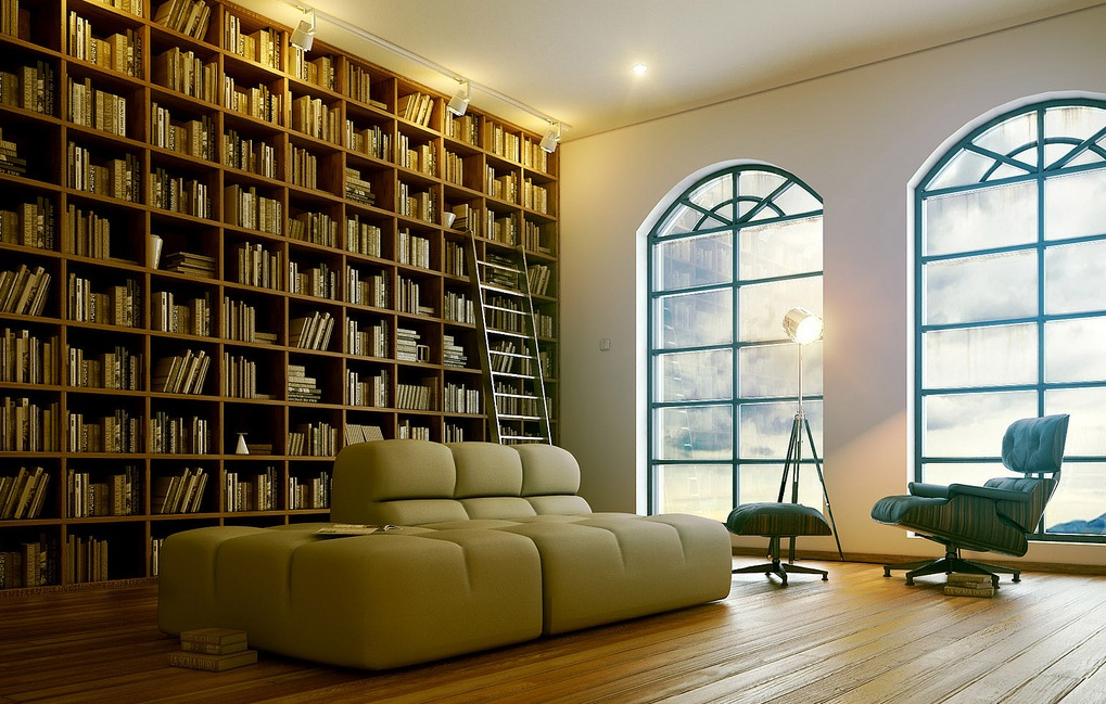 Библиотека   7-sophisticated-modern-home-library