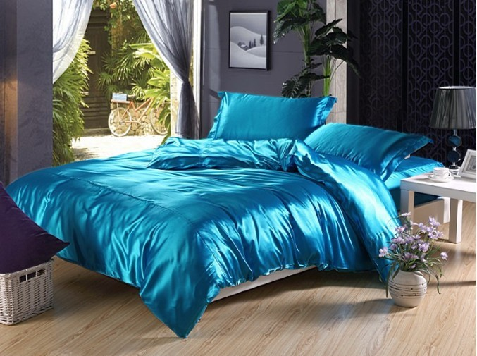 Noble-Luxurious-4pcs-cool-Sky-font-b-blue-b-font-summer-bedding-100-imitated-font-b