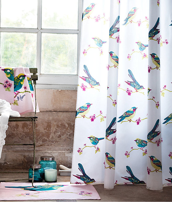Bird-motif-shower-curtain