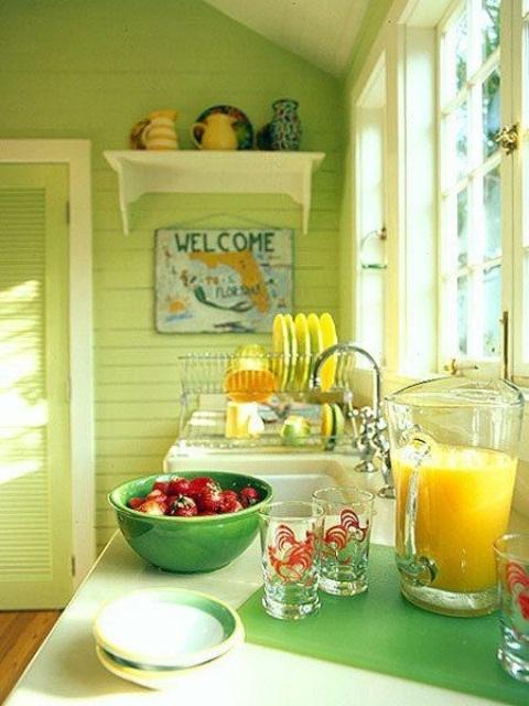 33 Cheerful Summer Living Room Décor Ideas: Здравей лято! 50 идеи за кухненски интериор в жълто и зелено