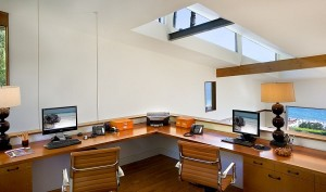 Small-home-office-with-slanted-roof-and-skylight