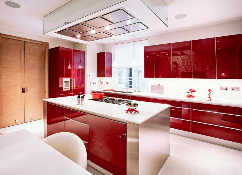 High Gloss Kitchen Cabinets at Home and Interior Design Ideas