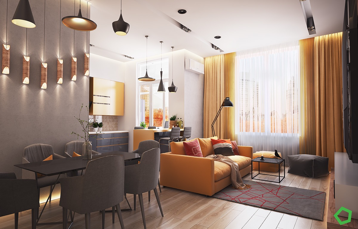 апартамент в сиво и жълто