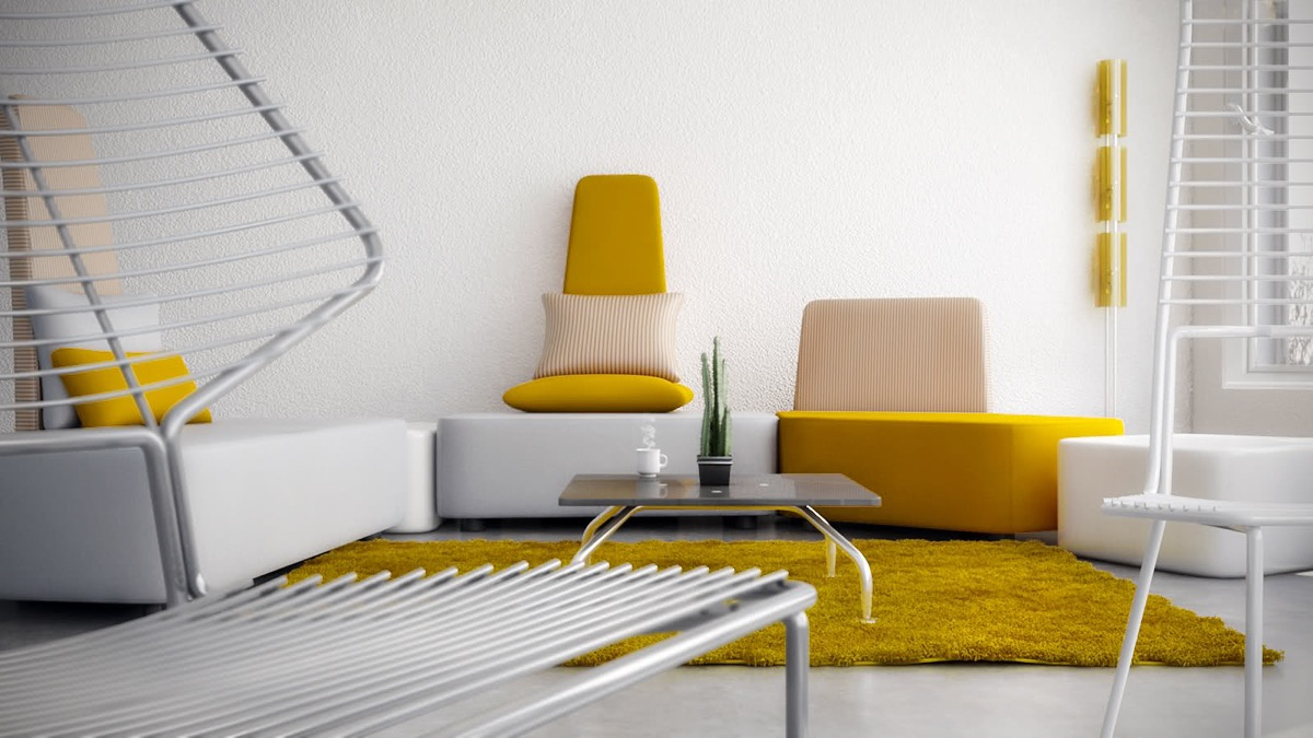 хол с жълт диван