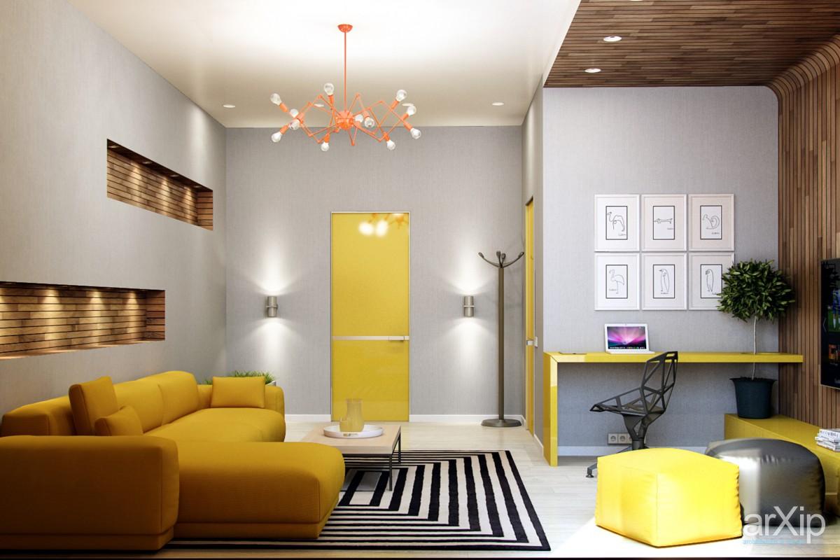 интериор с акцент жълта врата