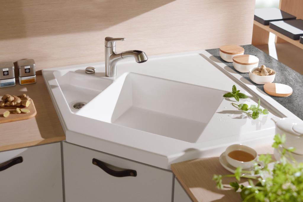елегантна ъглова мивка
