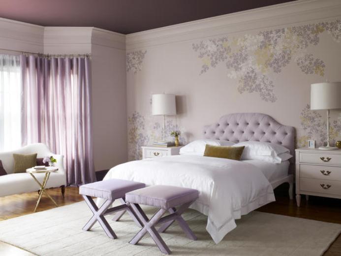 нежна виолетова спалня