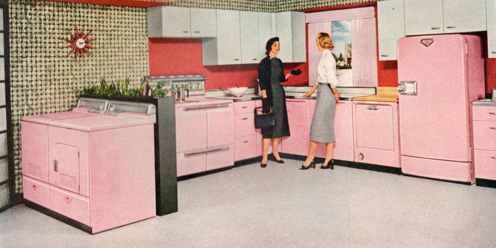ретро кухня в розово