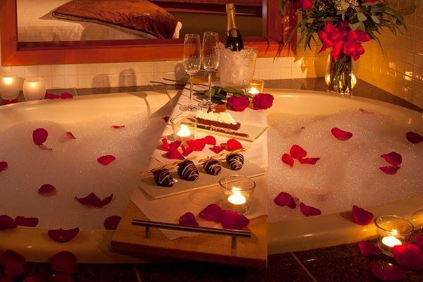 романтична идея за декор на вана