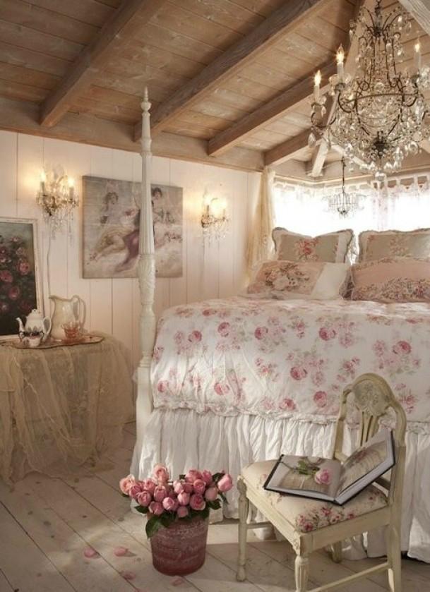 романтична-спалня с флорални акценти
