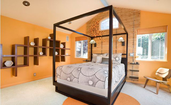 спалня в оранжево и кафяво