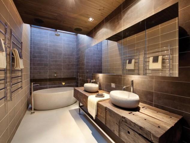 дизайн на баня а дървени елементи