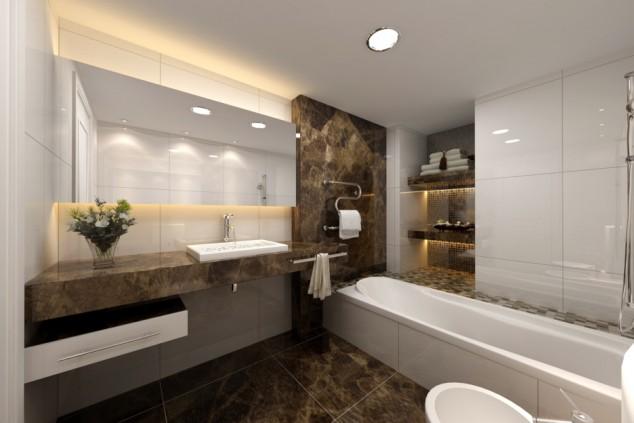 модерен дизайн на баня с мрамор