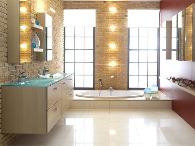 модерен дизайн на баня с тухлени стени
