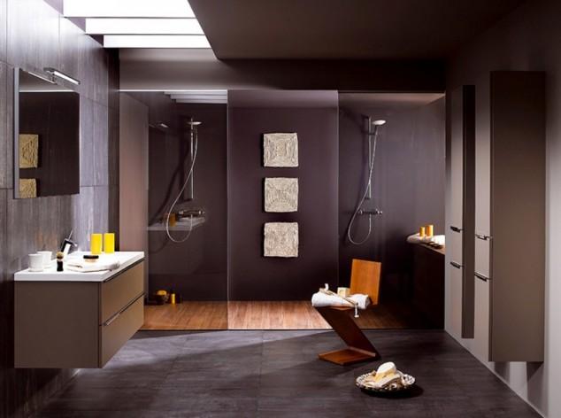модерен дизайн на баня в тъмни цветове