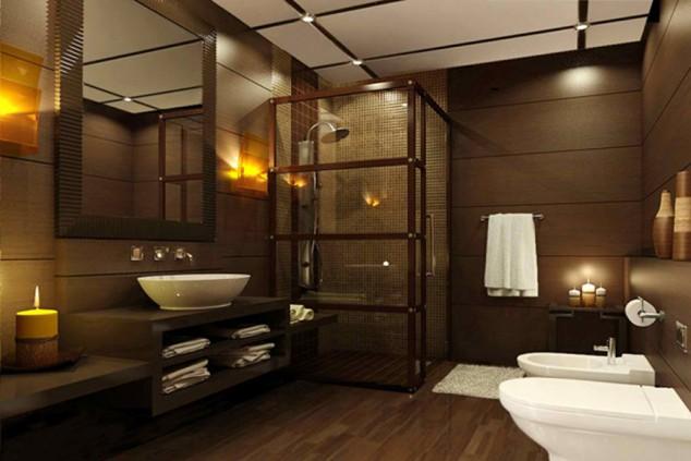 модерна баня с душ кабина и азиатски стил