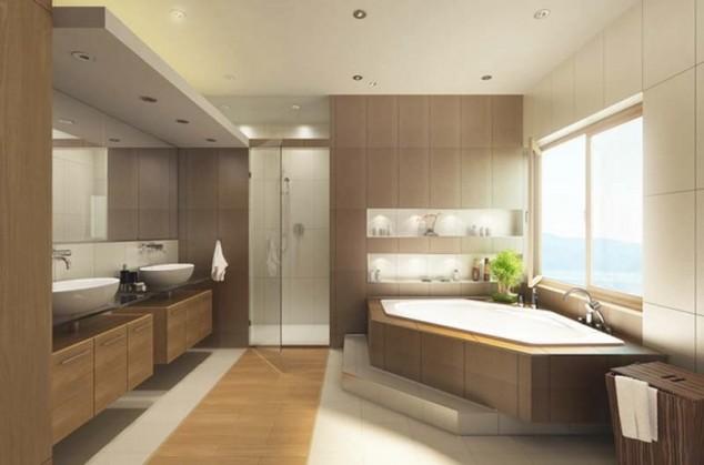 просторна модерна бяна с ъглова вана