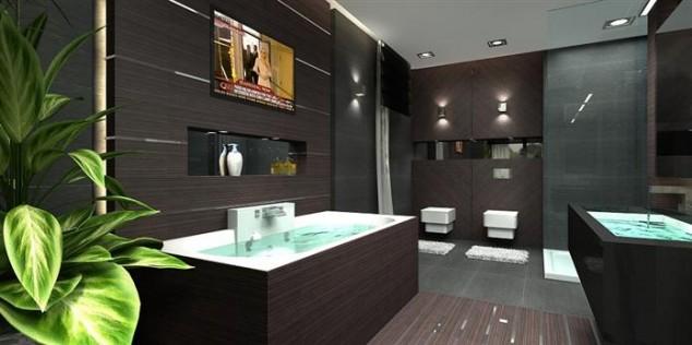 тъмна модерна баня