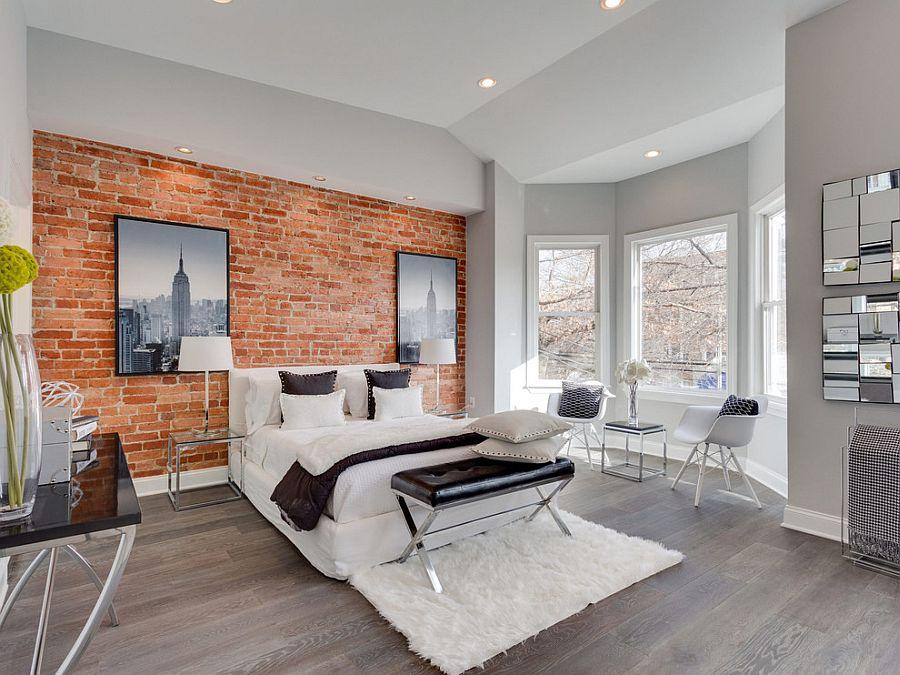 спалня с тухлени стени