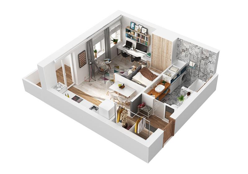 3D визуализация на малък апартамент