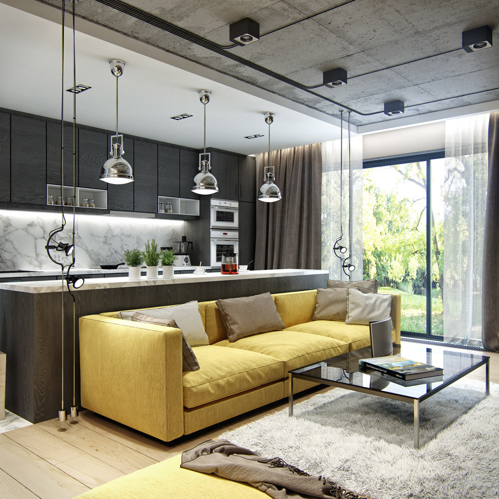 yellow-and-brown-industrial-interior