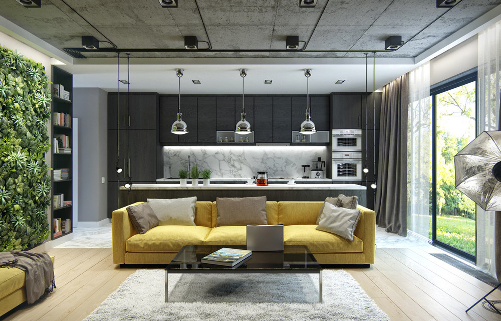 yellow-black-and-green-interior