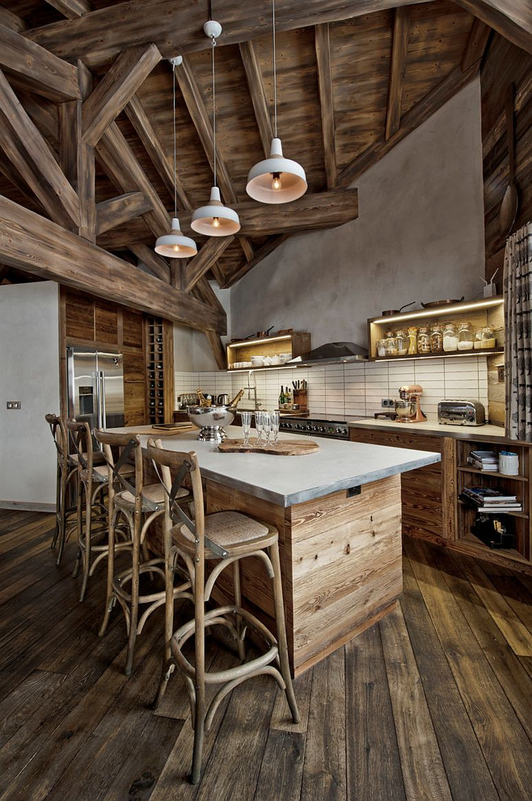 Rustic-kitchen-island-draped-in-reclaimed-wood