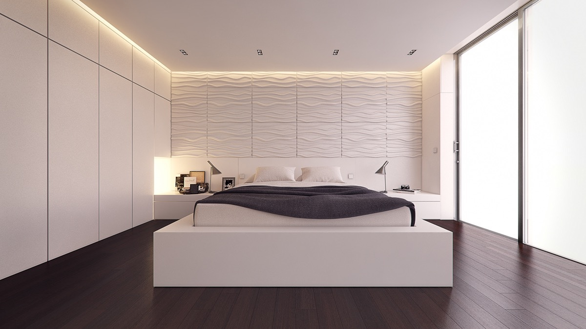 white-and-grey-bedroom-textured-feature-wall-charcoal-duvet-breaks-the-white