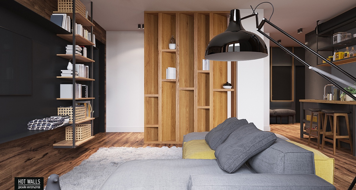 bokshelf-seperating-space-gray-couch-wood-wall-decor