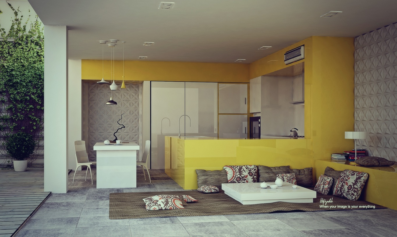glossy-yellow-kitchen