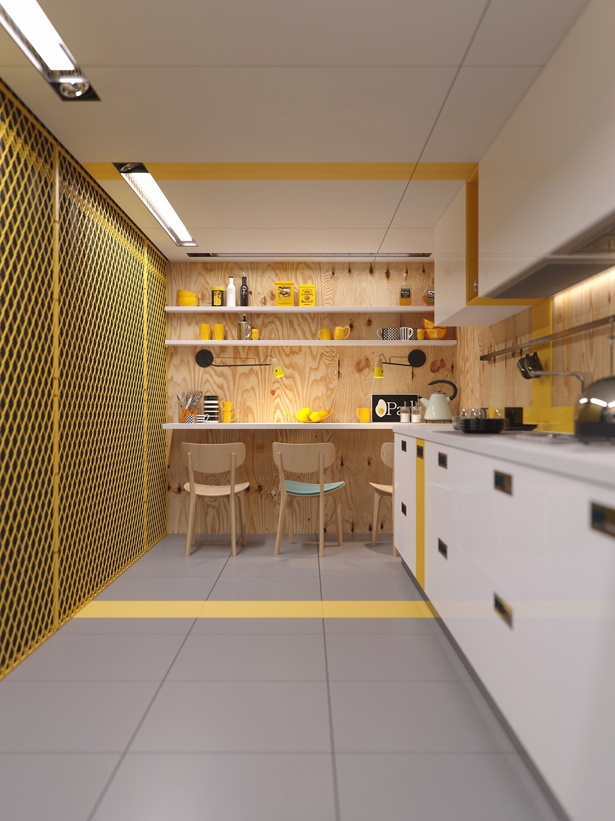 industrial-yellow-kitchen-design