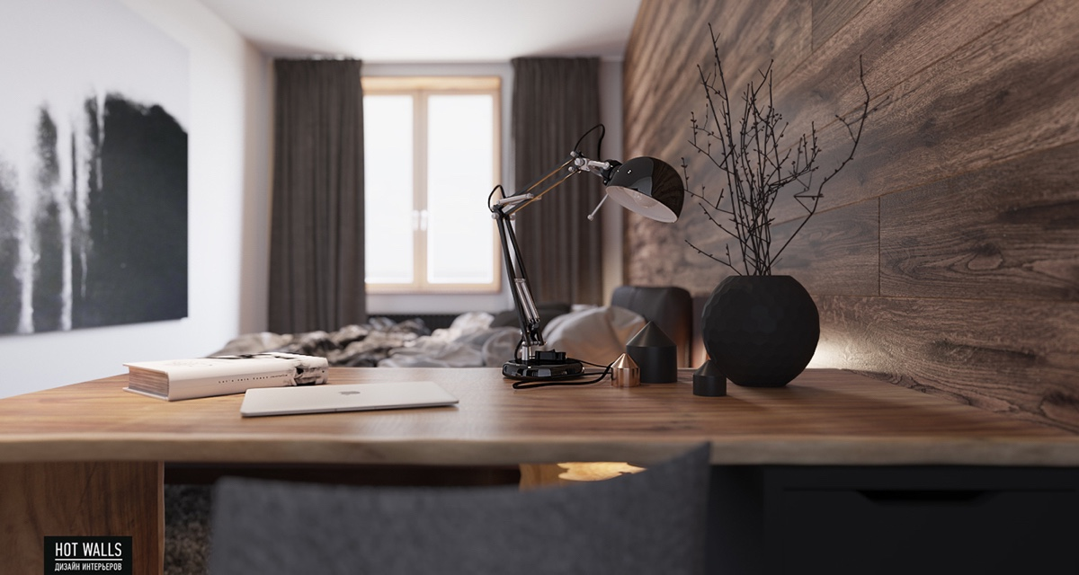 wooden-wall-large-window-gray-curtains-office-desk