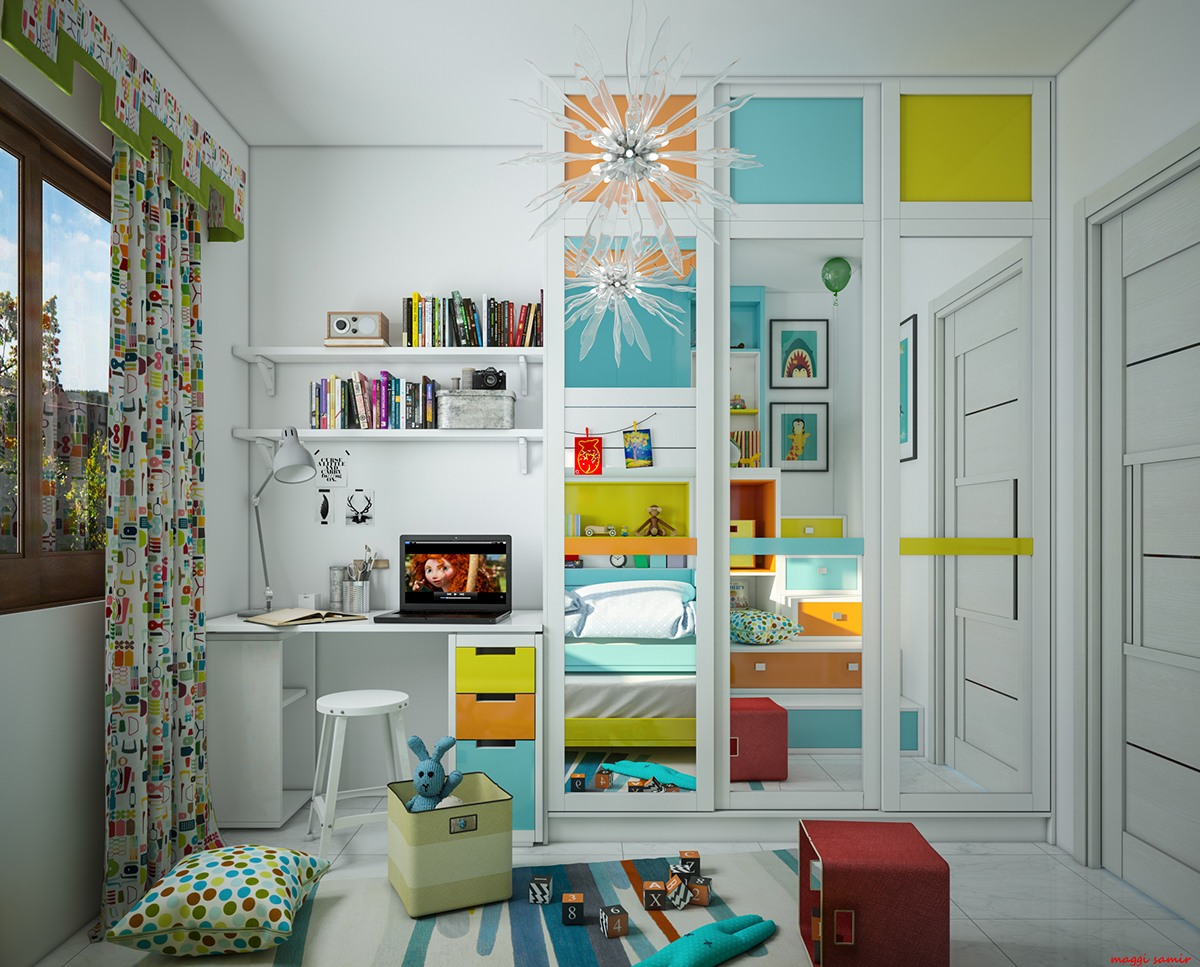 green-orange-blue-bedroom