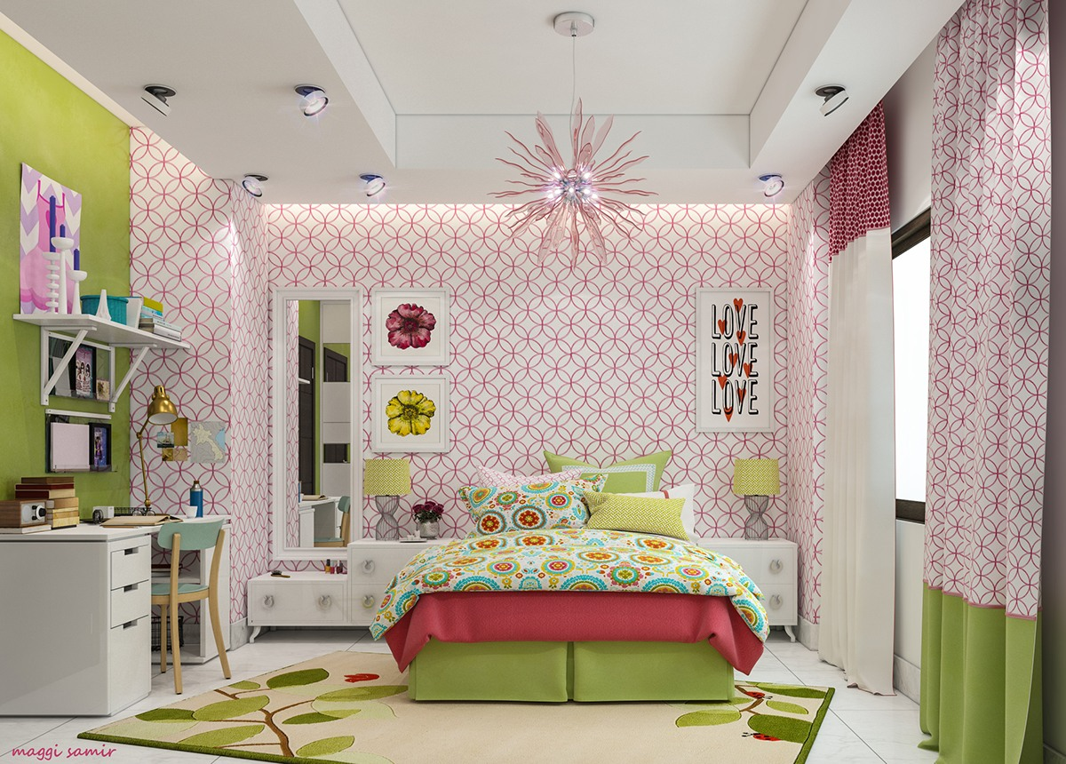 pink-and-green-girls-room