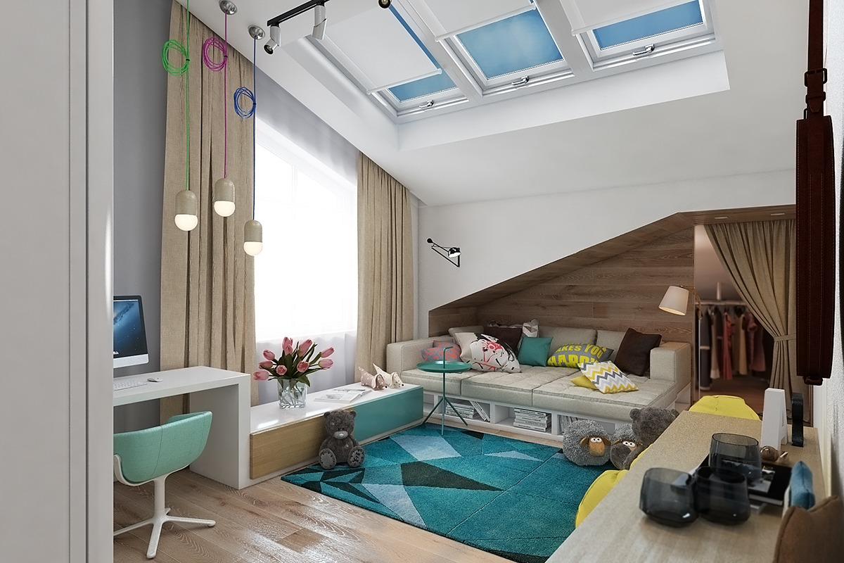 teal-and-yellow-kids-room