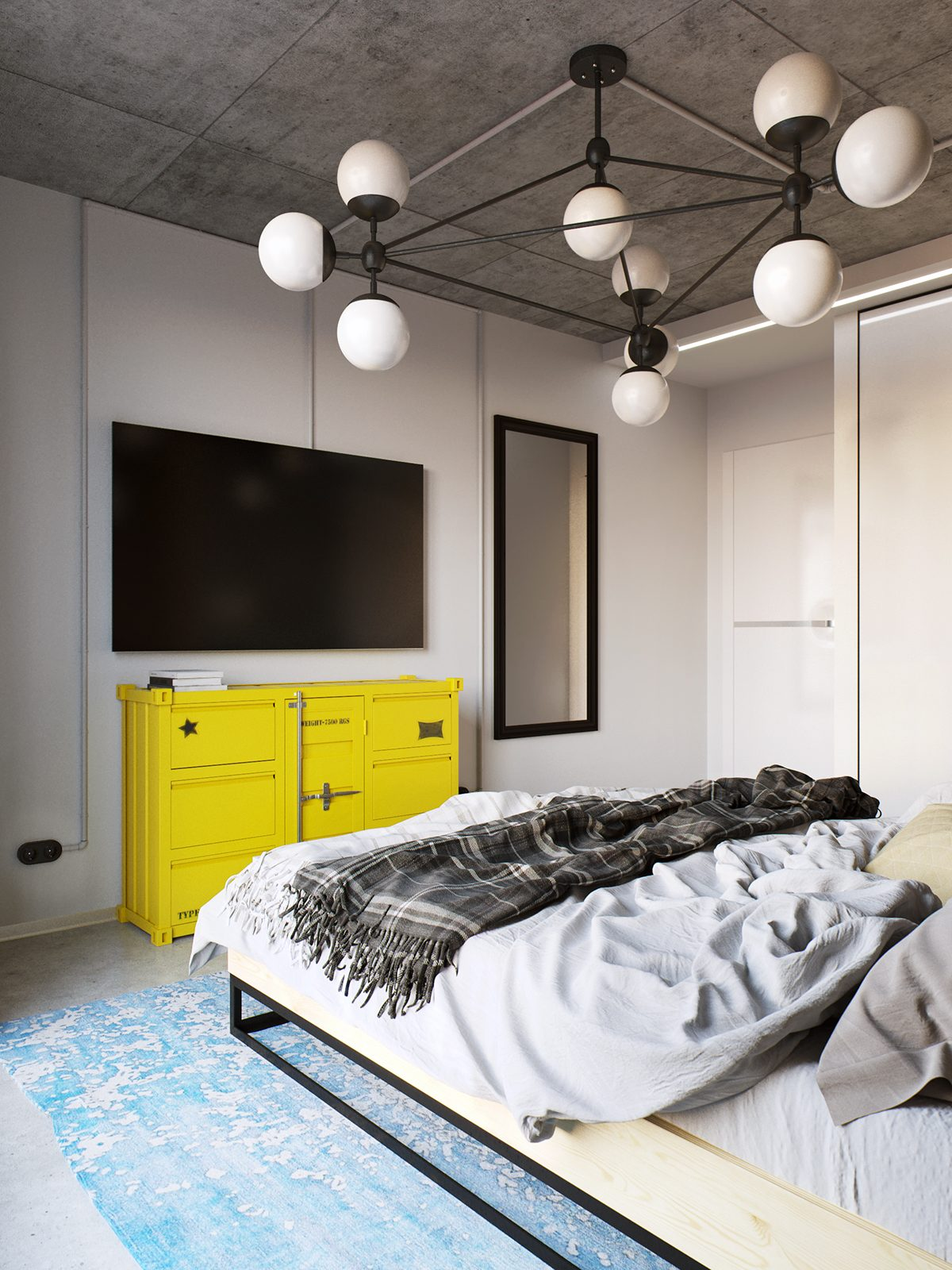 yellow-and-blue-modern-bedroom