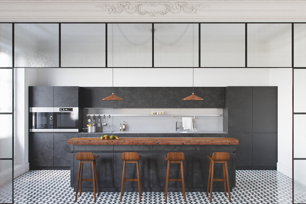 charcoal-and-warm-wood-kitchen-stencil-frame