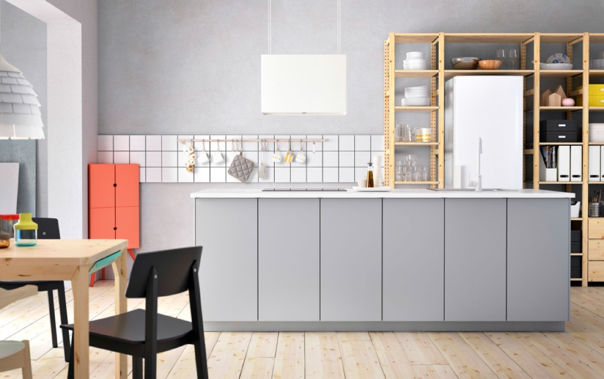white-and-grey-ikea-kitchen-wood-bookcase-shelving
