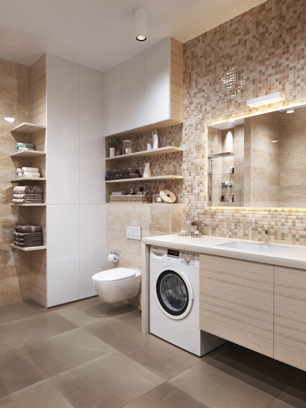 Modern tile laundry room for Arredamento minimalista