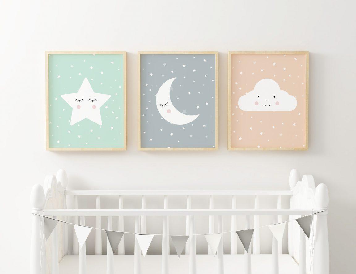 Twinkle Twinkle Little Star Wall Art Set of 3, Moon & Cloud Nursery Decor free poster